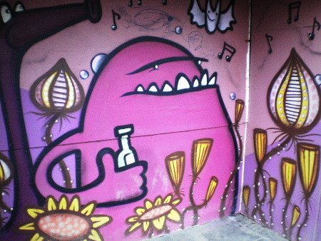 Graffito am Ihmezentrum in Hannover-Linden