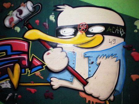 Graffito am Ihmezentrum zu Hannover-Linden
