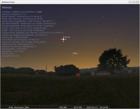 Screenshot Stellarium, Himmel über Hannover heute abend um 19:15 Uhr mit heller Venus am westlichen Abendhimmel