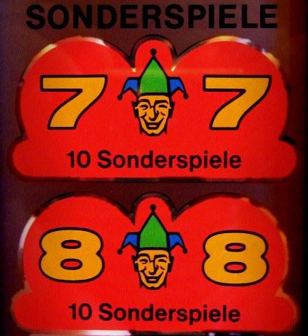 Ausschnitt aus dem Gewinnplan des NSM Rotamint Super-Bingo aus dem Jahr 1973: 7-Joker-7: 10 Sonderspiele, 8-Joker-8: 10 Sonderspiele