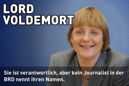 Stark aufgepixeltes, jedoch erkennbares Foto von Angela Merkel -- LORD VOLDEMORT -- Sie ist verantwortlich, aber kein Journalist in der BRD nennt ihren Namen.