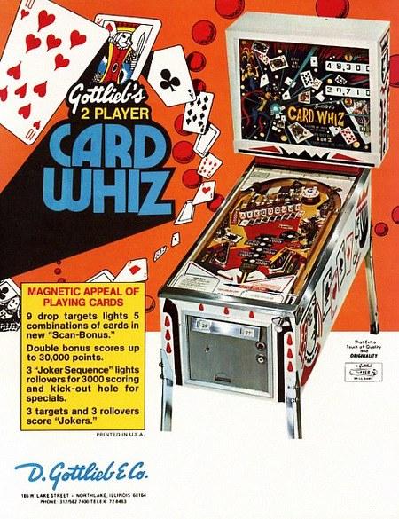 Werbung für den Gottlieb-Flipper 'Card Whiz' aus dem Jahr 1976