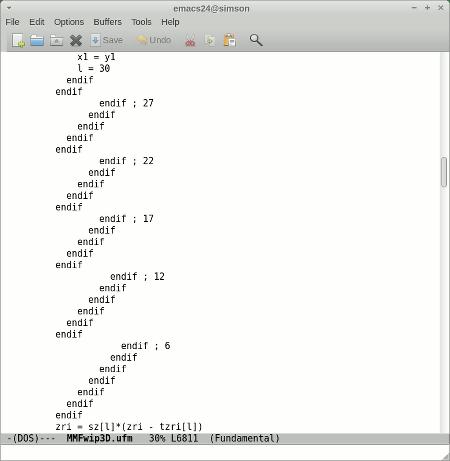 Eine absurde Folge von Endifs in einem Quelltext, die einen absurden Stil in der Einrückung des Codes verraten.