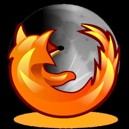 Ein bearbeitetes Firefox-Logo, die Erde wurde gegen einen Mond ausgetauscht.