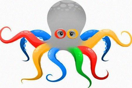 Ein Krake in Google-Farben, mit den beiden 'o' als Augen