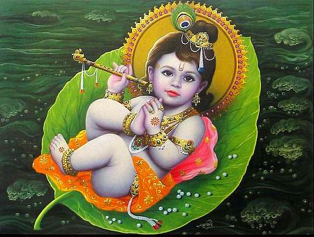 Darstellung des kindlichen Krishna, der auf einem großem Blatt in einem See liegt