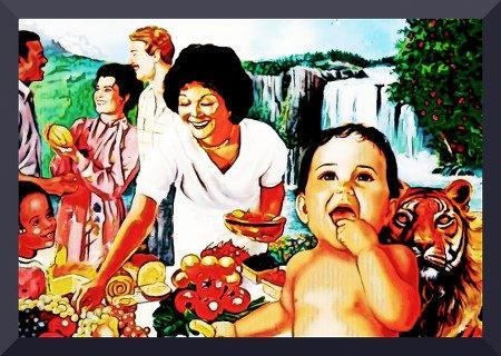 Illustration des Lebens in der Neuen Welt aus einem Buch der Zeugen Jehovas, stark nachbearbeitet.