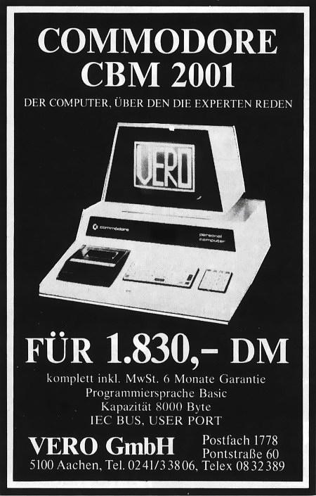 Commodore CBM 2001 - Der Computer, über den die Experten reden -- für 1.830,- DM -- komplett inkl. MwSt., 6 Monate Garantie, Programmiersprache Basic, Kapazität 8000 Byte, ICE BUS, USER PORT