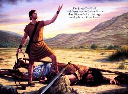 Illustration aus einem Wachtturm der Zeugen Jehovas: Der junge David tritt voll Vertrauen in Gottes Macht dem Riesen Goliath entgegen und geht als Sieger hervor