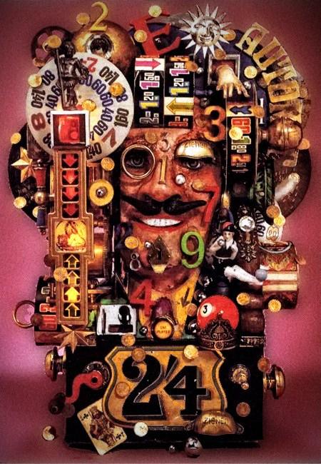 Obskure Werbung aus den Achtziger Jahren, absurde Kollage aus diversen Geldspielgeräten der Siebziger Jahre.