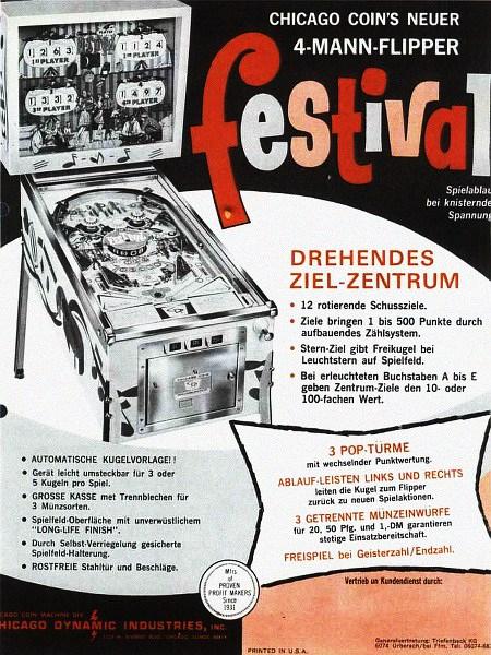 Deutschsprachige Werbung für den Flipper 'Festival' von Chicago Coin Machine Manufacturing Company aus dem Jahr 1966