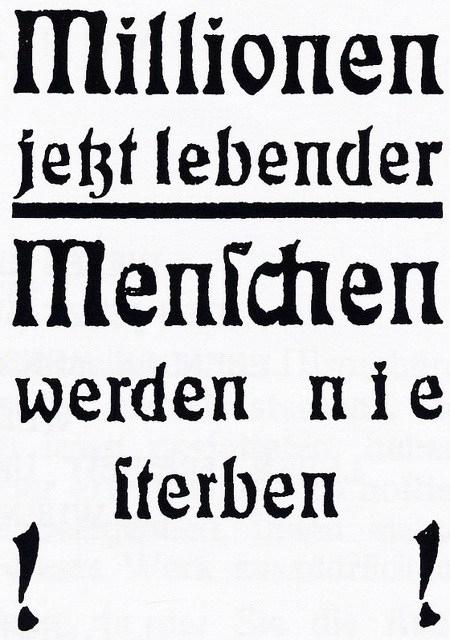 Titelblatt einer Schrift der Zeugen Jehovas aus den Vierziger Jahren: Millionen jetzt lebender Menschen werden nie sterben!!