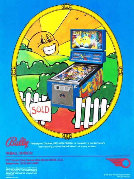 Werbung für den Bally-Flipper Mr. and Ms. Pacman aus dem Jahr 1982