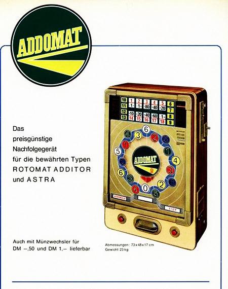 Werbung für ein Geldspielgerät aus einem Fachmagazin für Aufsteller des Jahres 1965: Addomat -- Das preisgünstige Nachfolgegerät für die bewährten Typen ROTOMAT ADDITOR und ASTRA. Auch mit Münzwechsler für DM -,50 und DM 1,- lieferbar.