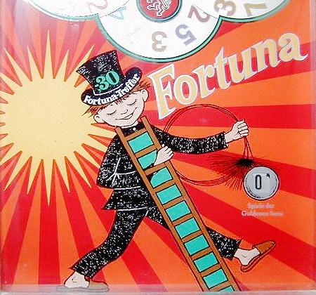 Detail der Frontscheibe des NSM-Geldspielgerätes 'Rotamint Fortuna' aus dem Jahr 1968: Ein Schornsteinfeger mit Hausschuhen.