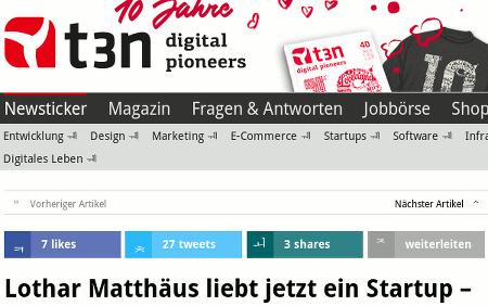Schlagzeile: Lothar Matthäus liebt jetzt ein Startup