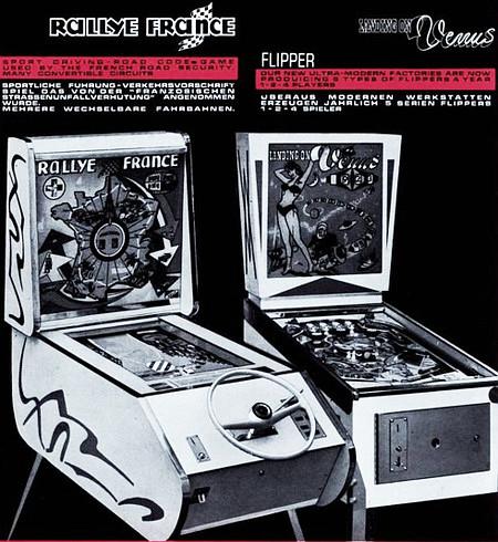 Werbung aus dem Jahr 1965 für das Unterhaltungsgerät 'Rallye France' und den Flipper 'Landing on Venus'