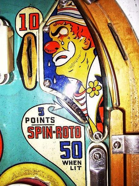 Ausschnitt der Spielfläche des Flippers 'Happy Clown' von Gottlieb aus dem Jahr 1964