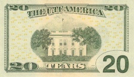 20-Dollar-Note so gefaltet, dass statt des Textes 'TWENTY DOLLARS' der Text 'TEARS' sichtbar ist