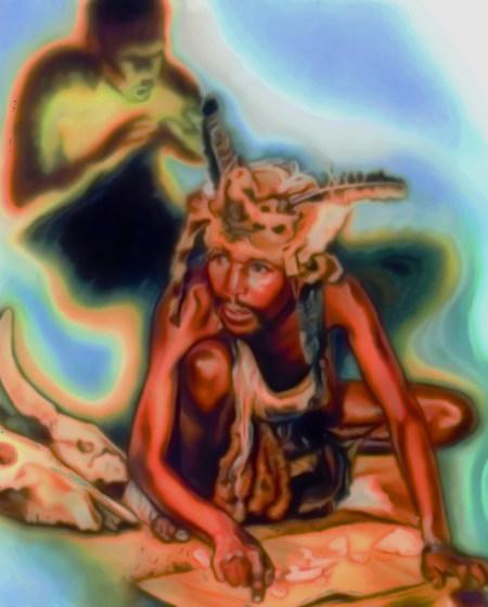 Stark nachbearbeitete Illustration aus einer Publikation der Zeugen Jehovas. Ein Schamane deutet Tierknochen, hinter ihm ein finsterer Geist, der ihn inspiriert.