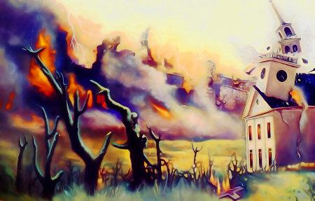Ein großes, alles verzehrendes Feuer, Baumstümpfe, ein brennendes Kruzifix auf dem Boden, eine zusammenstürzende Kirche, die Feuer fängt, Bilder des Endes