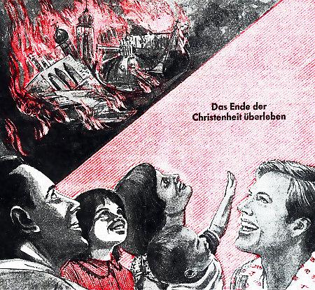 Illustration aus einem alten Buch der Zeugen Jehovas: Im Hintergrund brennen die Kirchen, im Vordergrund freuen sich die Erlösten über das Feuer. Dazu steht der Text 'Das Ende der Christenheit überleben'.