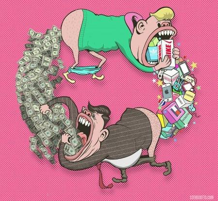 Karikatur. Zwei menschliche Figuren mit schweineartigen Zügen jagen sich gegenseitig im Kreis. Beide haben den Mund weit aufgerissen und die Hosen heruntergelassen. Die eine Figur frisst allerlei Markenprodukte und scheißt Dollarnoten, die andere frisst die Dollarnoten und scheißt die Produkte.