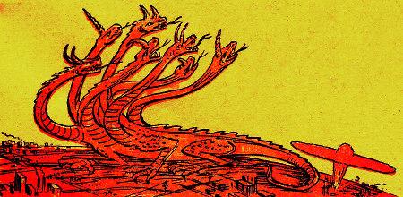 Detail aus einer Publikation der Zeugen Jehovas. Auf der Erde explodiert eine Atombombe, und ein siebenköpfiger Drache erhebt seine Häupter.