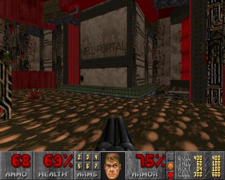 Screenshot aus DooM, mit dem WAD Mars War. In der Mitte des Raumes ein Gebilde mit der Aufschrift 'HELL PORTAL'.