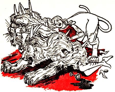 Bildliche Darstellung aus einer alten Broschüre der Zeugen Jehovas: Die Hure Babylon wird von einem Raubtier mit sieben Köpfen und zehn Hörnern gegessen.