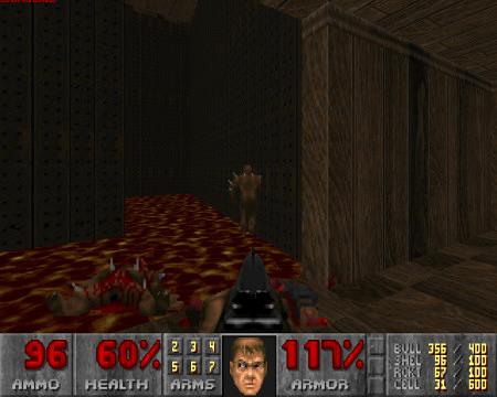 Screenshot aus DooM: Ein Imp, der halb in der Wand steht und sich nicht von der Stelle rühren kann.