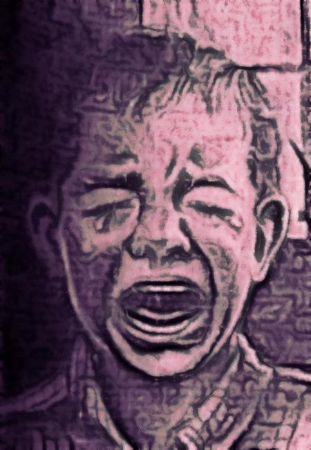 Stark nachbearbeitetes Bild eines weinenden Kindes aus einem alten Buch