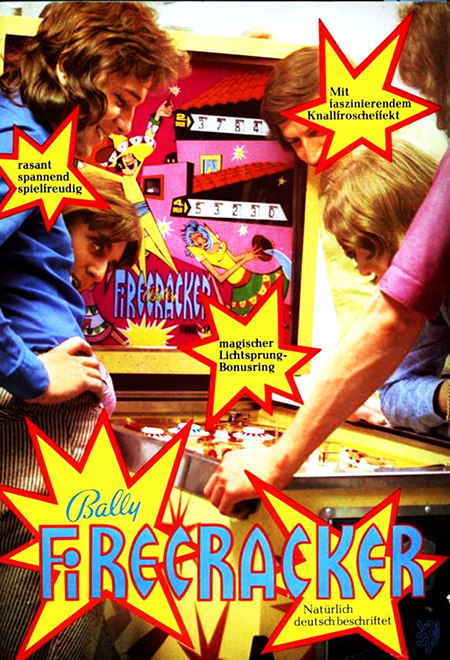Werbung für den Bally-Flipper 'Firecracker' aus dem Jahr 1972 -- Mit faszinierendem Knallfroscheffekt -- rassant spannend spielfreudig -- magischer Lichtsprung-Bonusring -- Bally Firecracker -- Natürlich deutsch beschriftet