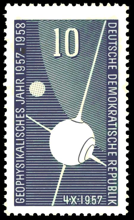 Sonderbriefmarke der DDR zum sowjetischen Sateliten Sputnik anlässlich des geophysikalischen Jahres 1957 -- 10 Pfennig