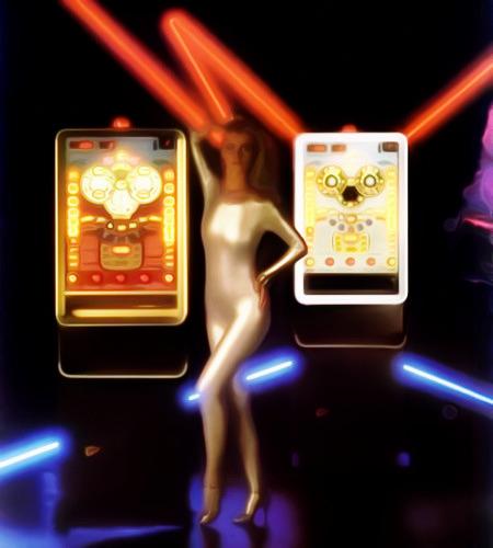 Zierfrau in einer Werbung für das Geldspielgerät Sunny Top aus den Achtziger Jahren