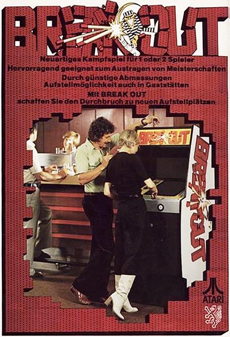 Werbung aus dem Jahr 1976 für das Arcade-Videospiel 'Breakout' von Atari -- Breakout -- Neuartiges Kampfspiel für 1 oder 2 Spieler -- Hervorragend geeignet zum Austragen von Meisterschaften -- Durch günstige Abmessungen Aufstellmöglichkeit auch in Gaststätten -- Mit BREAK OUT schaffen sie den Durchbruch zu neuen Aufstellplätzen