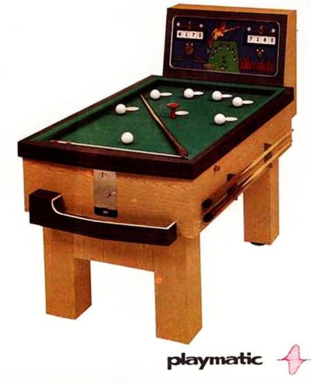 Werbung aus dem Jahr 1975 für einen obskuren, kurzen Münzbillard-Tisch mit mechanischen Punktezählwerken