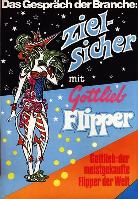 Werbung aus dem Jahr 1975 -- Das Gespräch der Branche: Zielsicher mit Gottlieb Flipper -- Gottlieb: der meistgekaufte Flipper der Welt