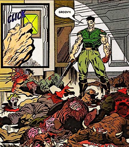 Spielhandlung aus Doom in einem Comic dargestellt, der Doomguy sagt vor einem Berg zerfetzter Leichen und verstreuter Innereien 'Groovy'.