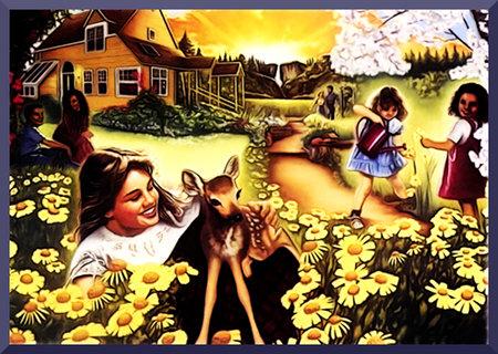 Illustration aus einem 'Wachtturm' der Zeugen Jehovas mit einer spießbürgerlich-idyllischen Illustration des Paradieses.
