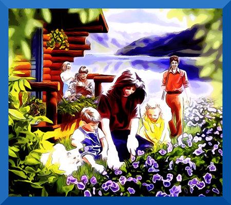 Extrem kitsche Illustration der 'Neuen Welt' aus einem Wachtturm der Zeugen Jehovas
