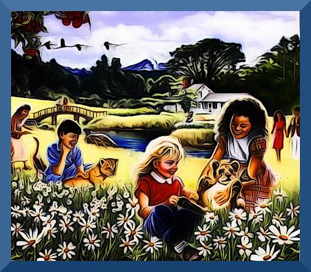 Illustration aus einem Wachtturm der Zeugen Jehovas. Ein ausgesprochen spießbürgerliches Idyll illustriert das Leben in der Neuen Welt.