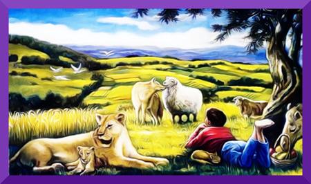 Illustration der Neuen Welt in einem Wachtturm der Zeugen Jehovas, stark nachbearbeitet