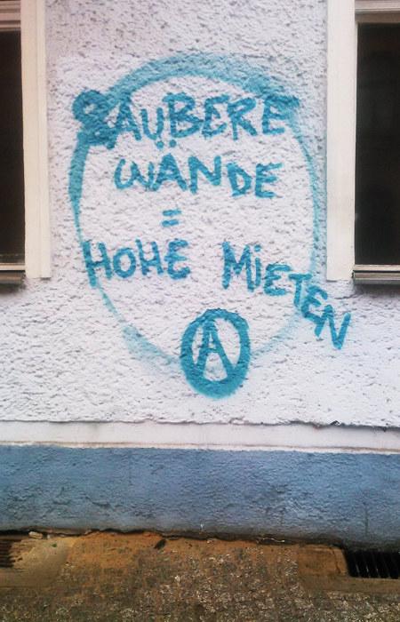Graffito an einer Hauswand: Saubere Wände = Hohe Mieten