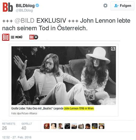 Tweet von @Bildblog: +++ BILD EXKLUSIV +++ John Lennon lebte nach seinem Tod in Österreich. -- Darunter Screenshot mit Foto, Fotounterschrift ist: Große Liebe: Yoko Ono mit 'Beatles'-Legende John Lennon 1996 in Wien