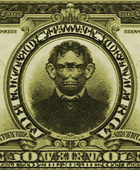 Unbeschreibliche, skurill-traumartig wirkende Bearbeitung einer alten US-Banknote über fünf Dollar