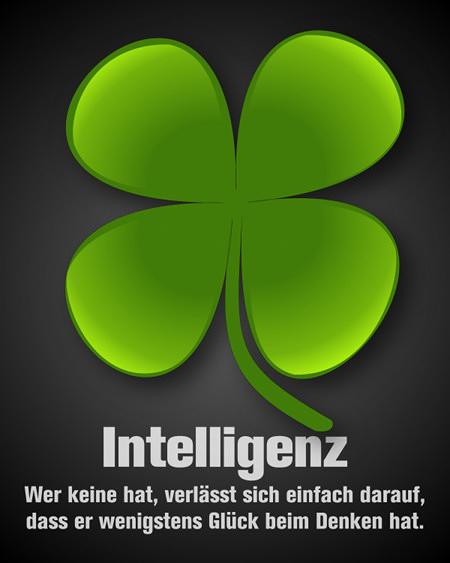 Intelligenz: Wer keine hat, verlässt sich einfach darauf, dass er wenigstens Glück beim Denken hat.