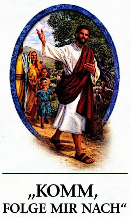 Traktat mit Jesus, der aus einer ovalen Form heraustritt, gefolgt von lächelnden Menschen, darunter der Text 'Komme, folge mir nach!'