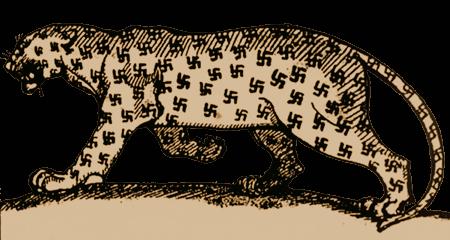 Alte Karikatur eines Leoparden, dessen Flecken Swastikas sind