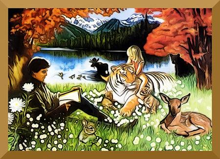 Kitschige Darstellung eines Paradies-Idylls aus dem 'Offenbarungsbuch' der Zeugen Jehovas. Unbeschreiblich und vor allem unbeschreiblich dumm.